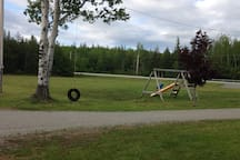 Swing set and tire swing in front yard