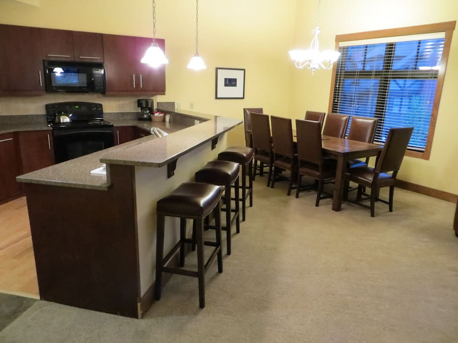 Spacious kitchen and dining room allows for entertaining with large groups.