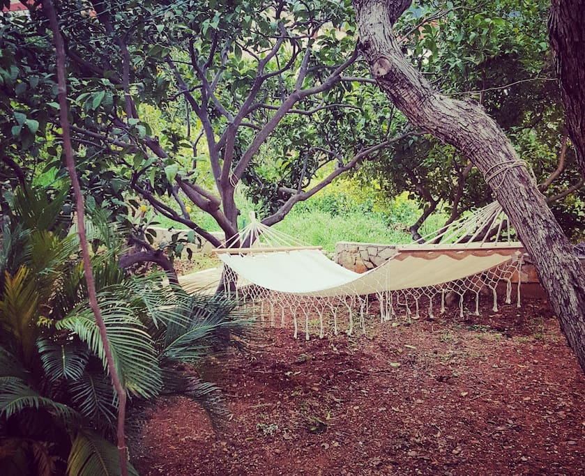 There is a relaxing  hammock in private patio between trees pears and lemons