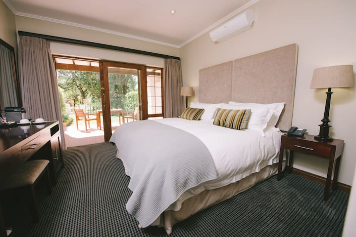 Egyptian cotton linen adds to the luxury in our newly built Garden Suite