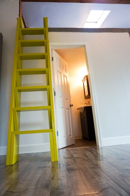 Stairs leading up to the loft.