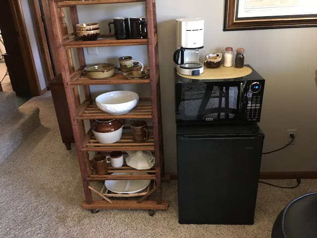Mini fridge, microwave, and coffee maker are yours to use!