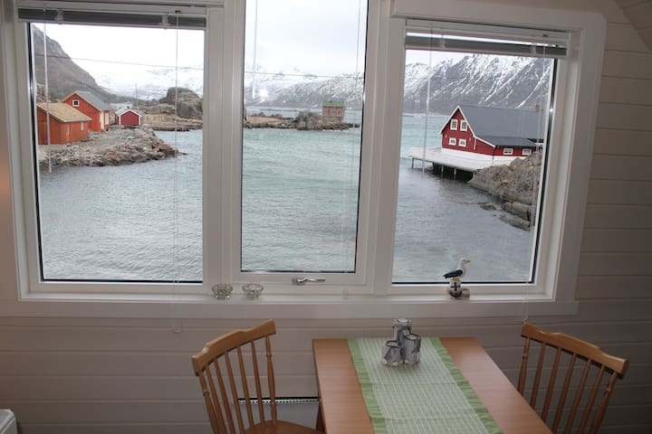 Fin hytte som ligger ved havet midt i Lofoten.