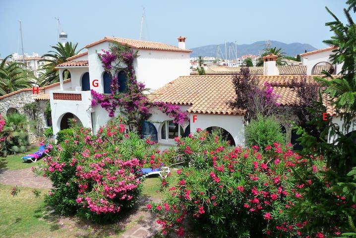 Fila de cuatro casas adosadas. El Apto.F en el centro. Ventana del comedor y terraza que es el acceso.