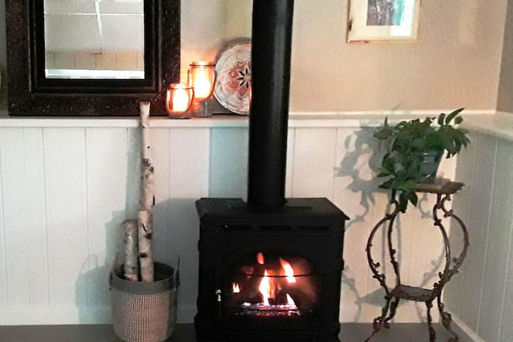 Cast iron fireplace for cold months.