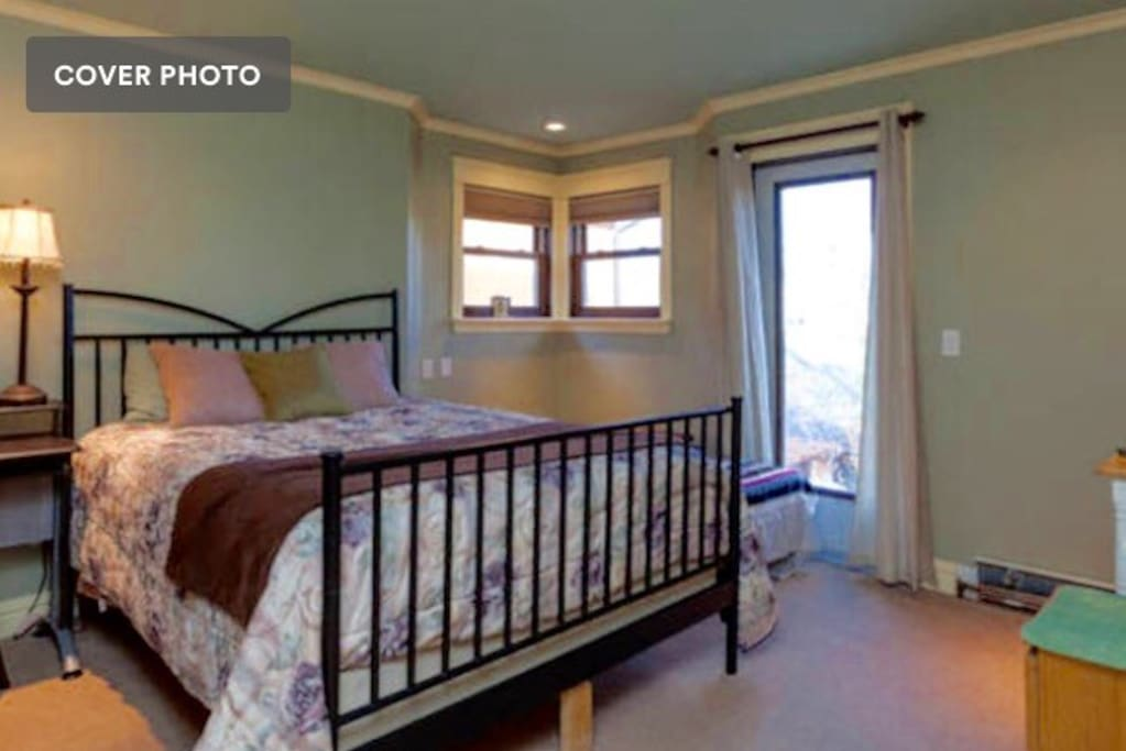 Green Room, one of three guest rooms of which you will stay in two.