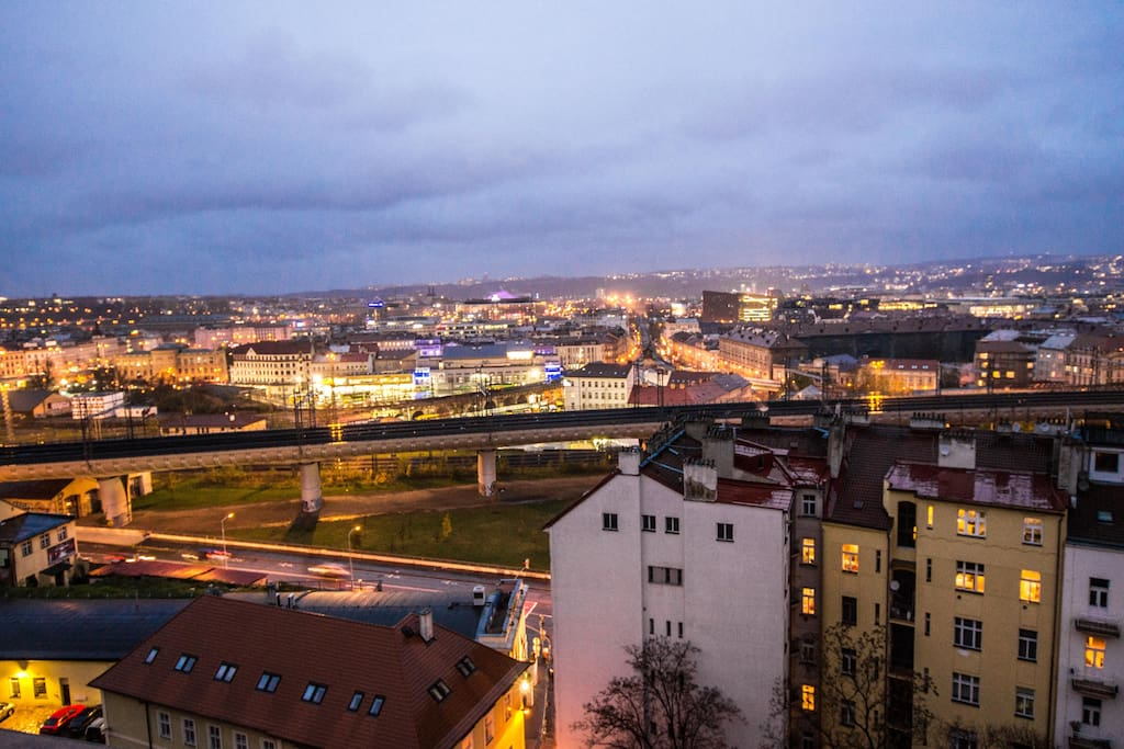 Beautiful view on Prague city center from the window!