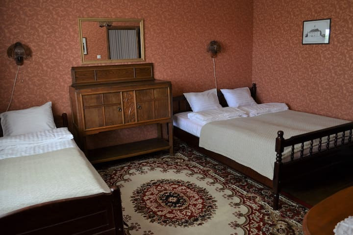 Double king bedroom with extra bed