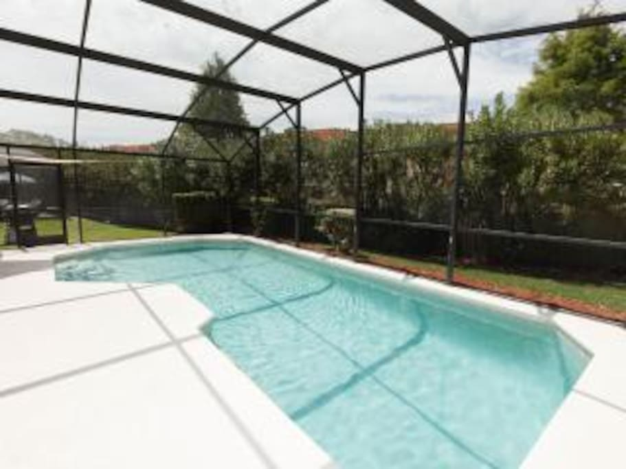 oversize south facing pool and deck area