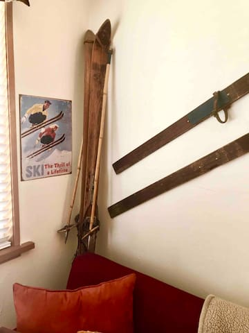 My dad's vintage wooden skis with cable bindings