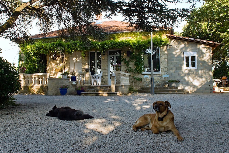 vue de la maison avec grande terrasse