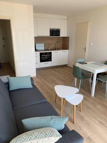 Séjour - table extensible - canapé lit 2 couchages