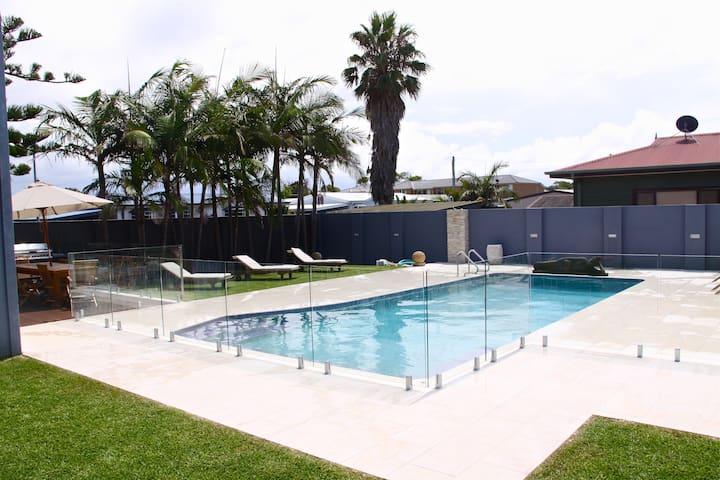 Large heated salt water pool