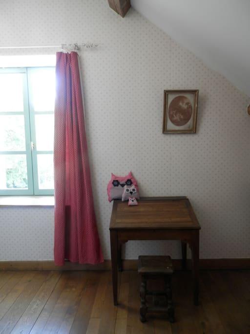 Espace de travail dans la chambre rouge.