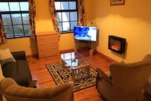 Living room with newly added remote control electric fire