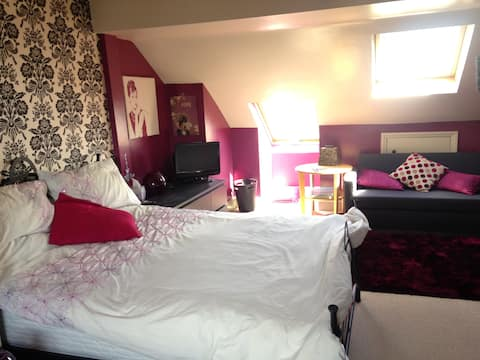 Very spacious double bedroom with private bathroom