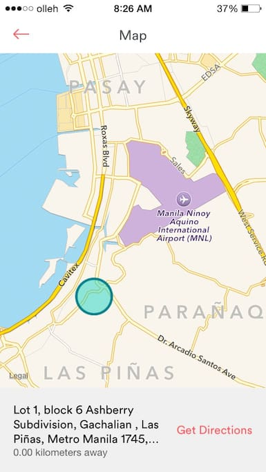 Very near to manila internatioal airport about 10 min, and 5minutes to Sm sucat. 15min to Moa