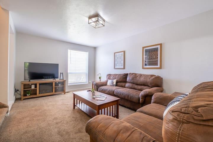 "Main living room w/ 55"" UHD 4K TV"