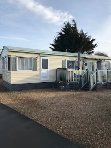 Southsea caravan with decking