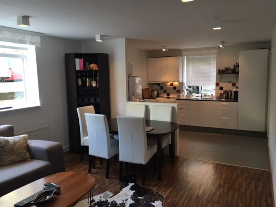 Fully equipped kitchen, big dining table with comfy chairs