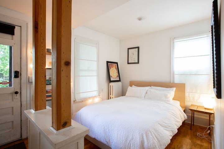 The main bedroom has a comfy queen memory foam  mattress
