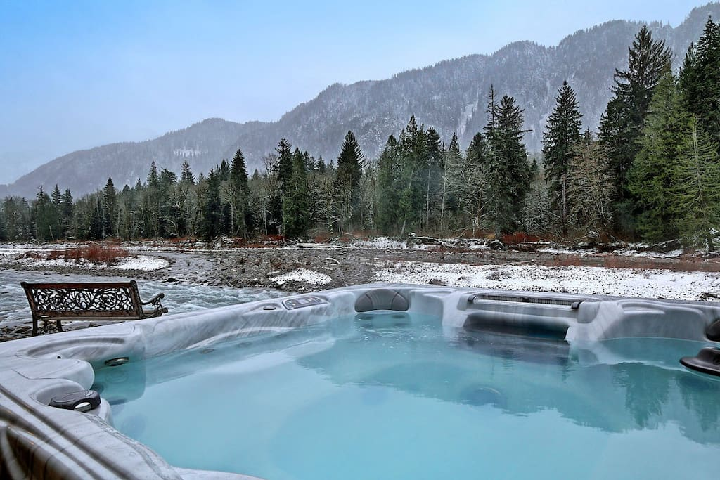 Hot tub with view, perfect for soothing tired muscles.