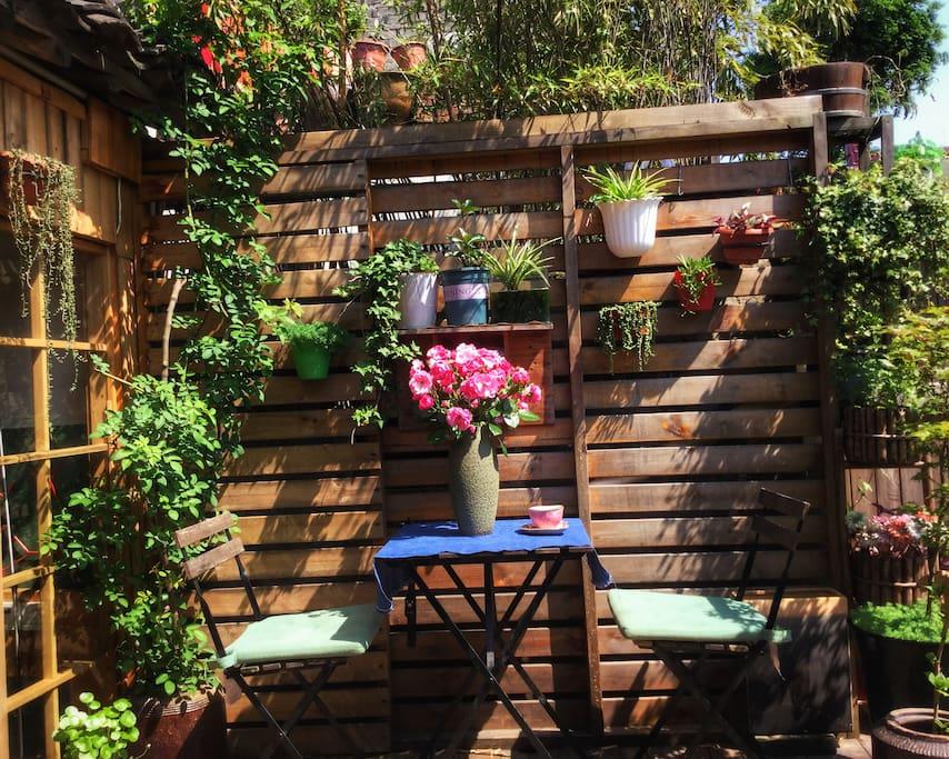 后院公共空间是一个非常棒的小花园,一点一点从废墟拾起。掌柜的可是花了不少心思,改了又改直到现在的模样,假如有一天遇见,这里不是这样了,请不要奇怪,因为合理。闲暇时晒晒太阳看看书,再沏上一壶老白茶。就这么窝着,有如置身世外桃源。