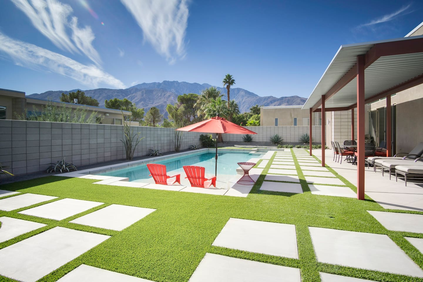 Gorgeous views of the desert mountains anchor the backyard.