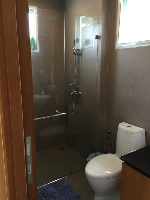 Stand Up shower in your private full bathroom.