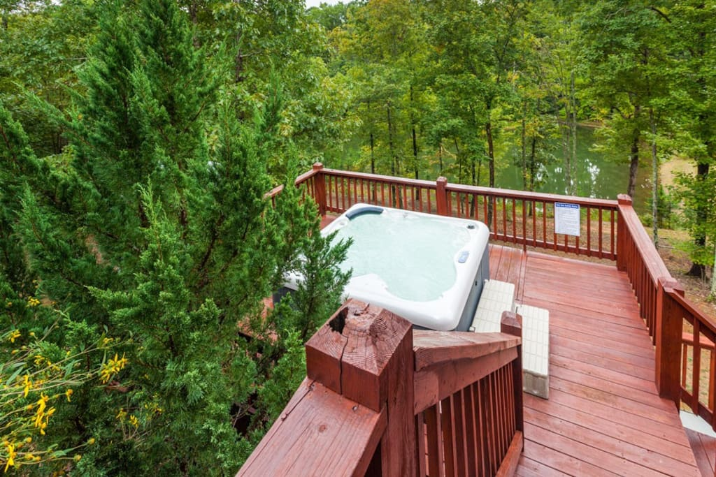 Large hot tub on open deck