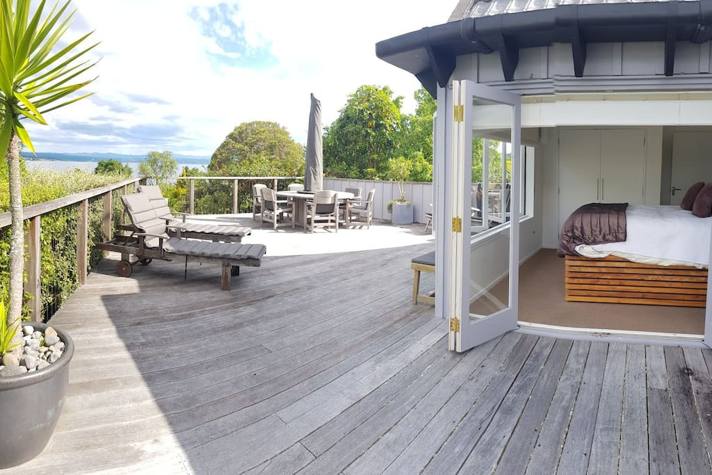 master bedroom and lake end deck