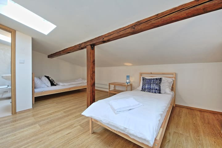 2nd bedroom with 2x single beds