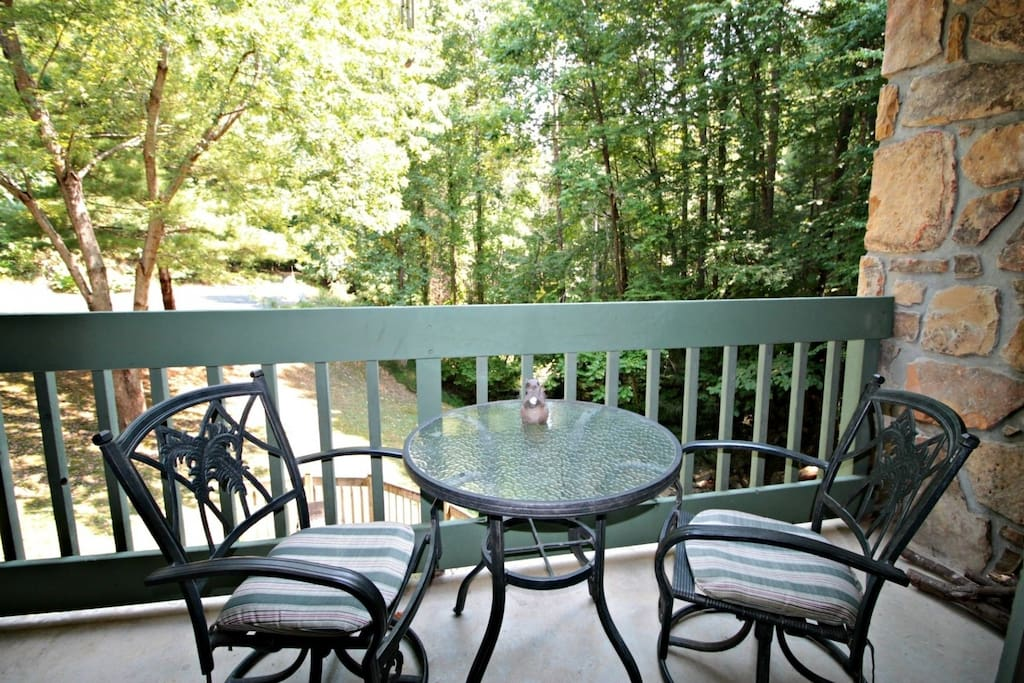 Balcony Overlooking Mountain Stream is the perfect place for your morning coffee