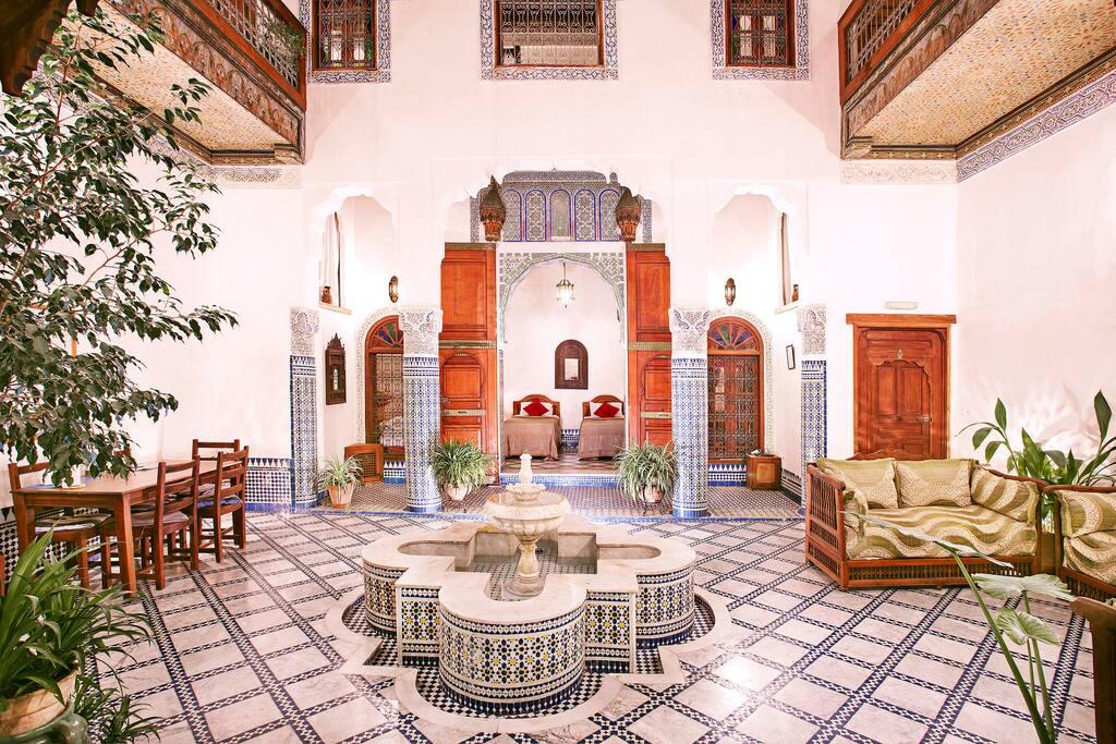 The courtyard and bedroom door