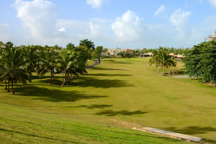View of golf course when entering gated community