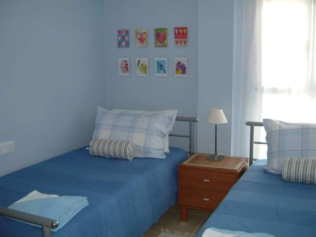 One of the twin rooms.