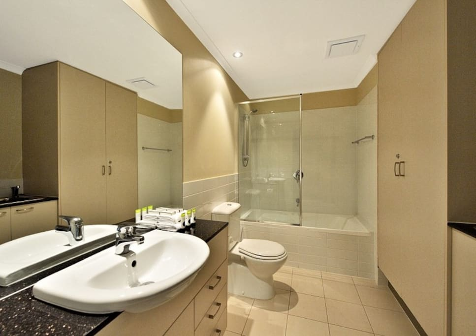 Main bathroom is luxuriously appointed.