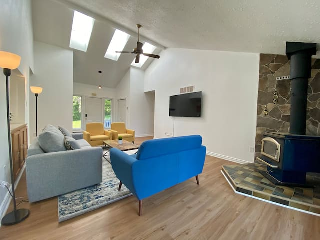 Spacious living room with vaulted ceiling and skylights.