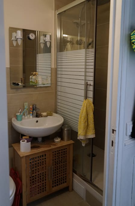 View of the bathroom next to the entrance, with the nice large shower