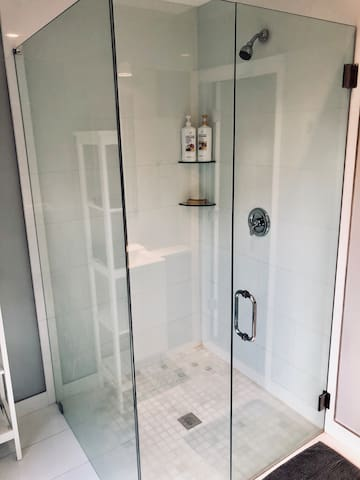 Spacious and comfortable modern shower