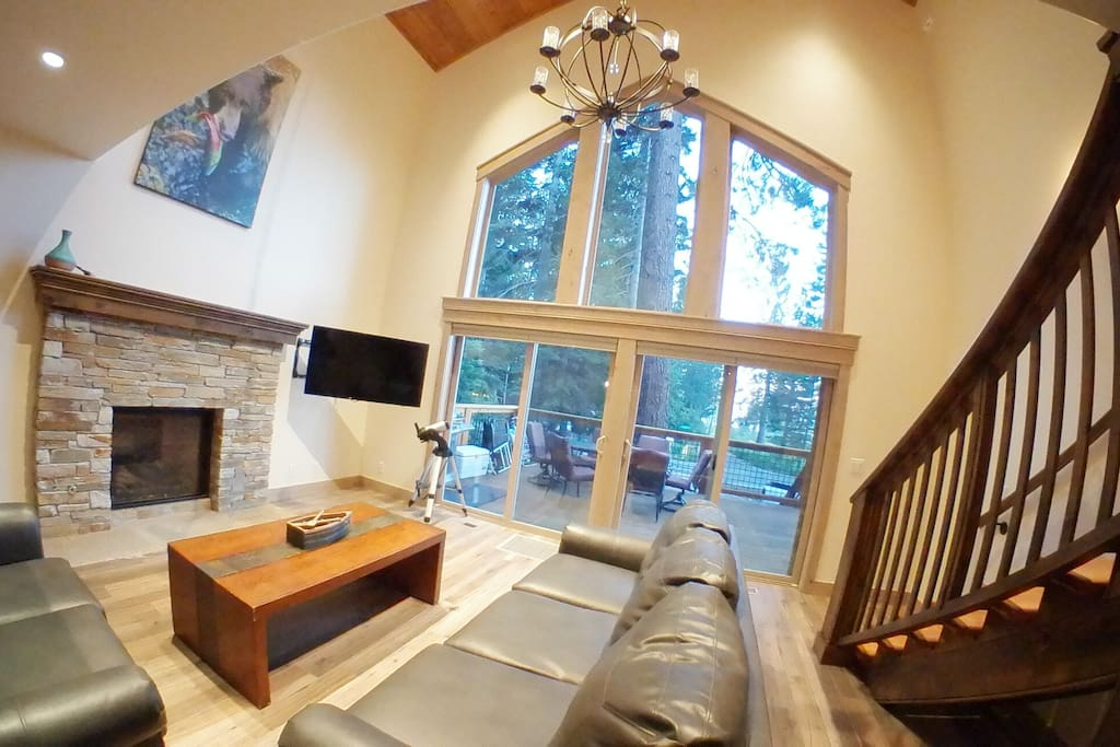 Living Area, large windows and 25 ft. vaulted cieling