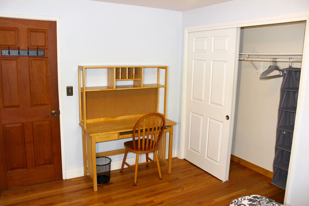 First bedroom has a full closet and desk.
