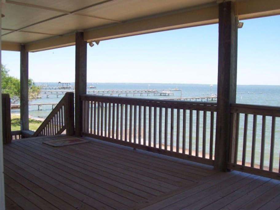 Get out of the sun as you watch the saltwater fun from the rear upper deck