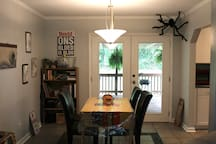 Dining room with doors to back deck (we have rearranged a little since this photo)