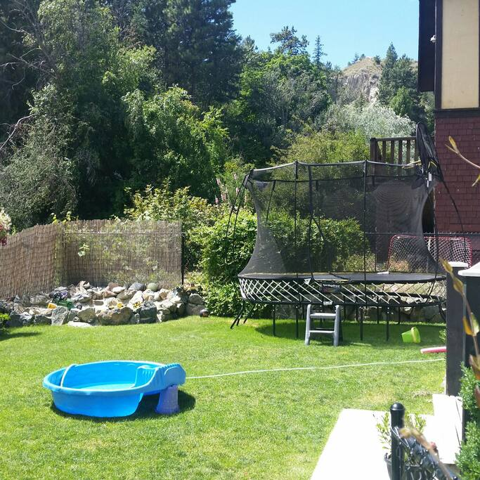 Backyard with trampoline and sandbox