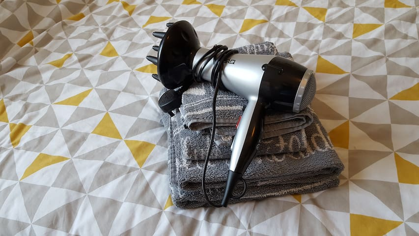Hair dryer and towels for our guests to use