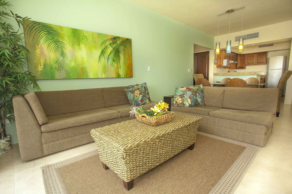 The open concept living space is perfect for larger groups.