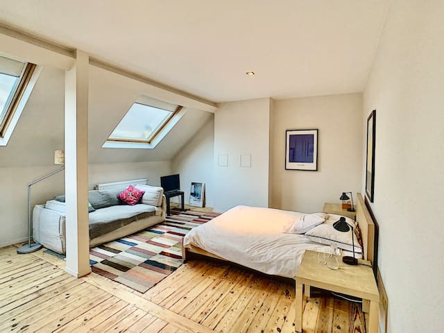 Large bedroom and private bathroom in Flagey