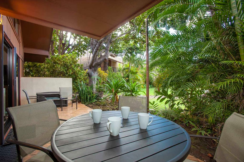 Enjoy a cup of coffee on your private lanai