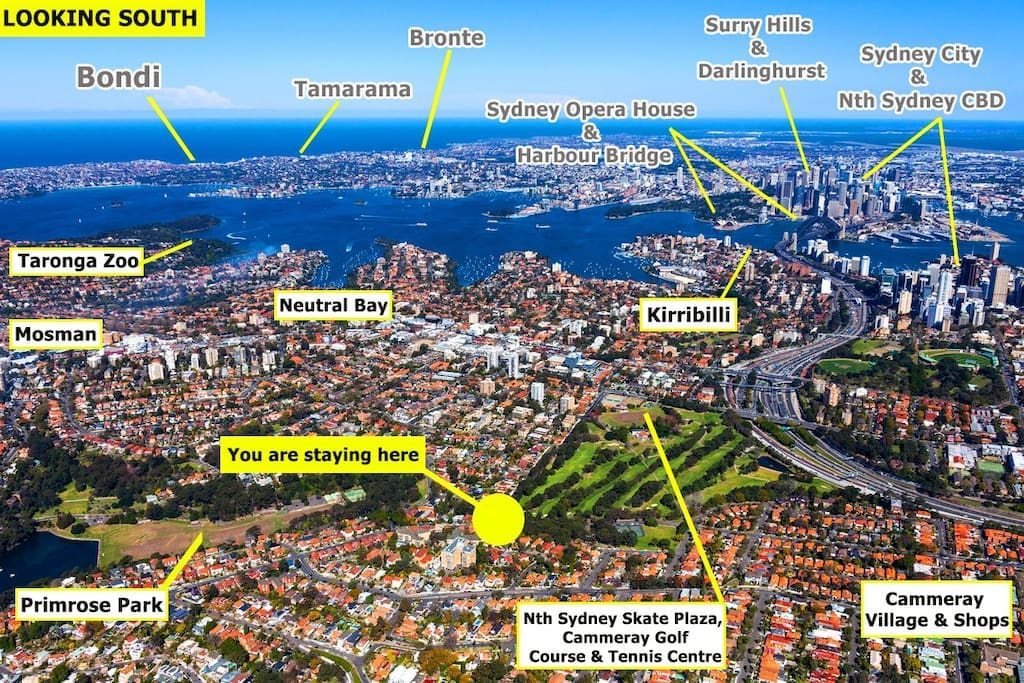 Here is where Cammeray is in relation to all things Sydney (looking south)